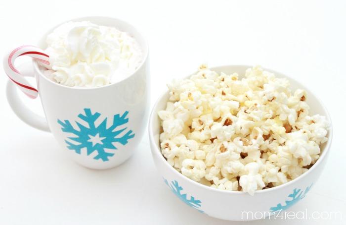 Teacher Gift Idea - Stenciled Hot Chocolate Mug and Personal Popcorn Bowl   #shop