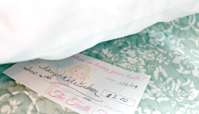 Leave a Check from The Tooth Fairy Under The Pillow