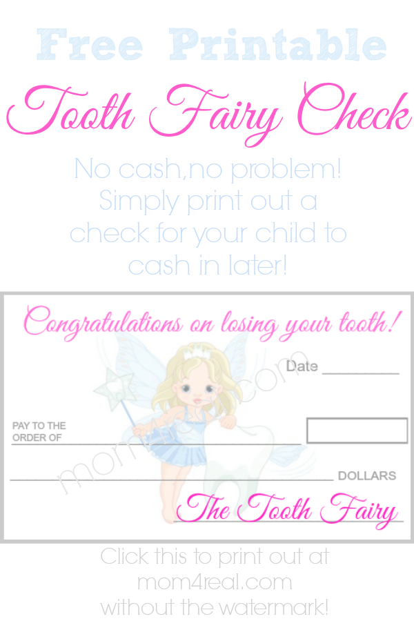 Printable Tooth Fairy Check to Use When You Don't Have Cash For The Tooth Fairy