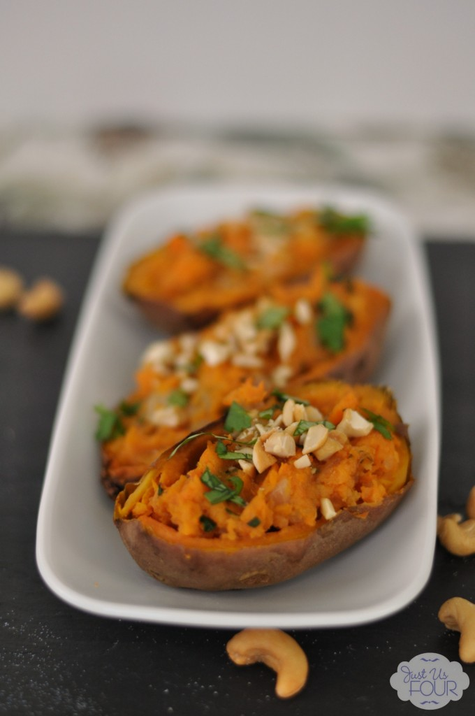 Indian Spiced Sweet Potato Skins - Just Us Four