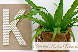 Stenciled Burlap Monogram & a Pinterest Party with Michaels and Hometalk!