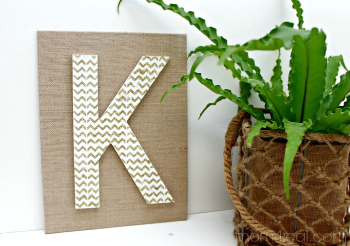 Gold Chevron Monogram on Burlap