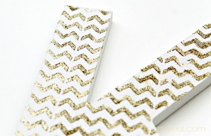 Gold Glitter Chevron Monogram