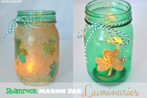 Gold-glitter-shamrock-mason-jar-luminaries-diy