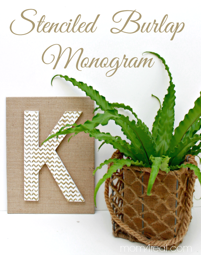 Stenciled Burlap Monogram