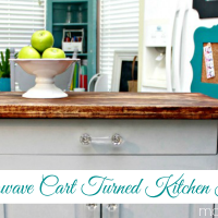 Turn a microwave cart into a kitchen island on the cheap