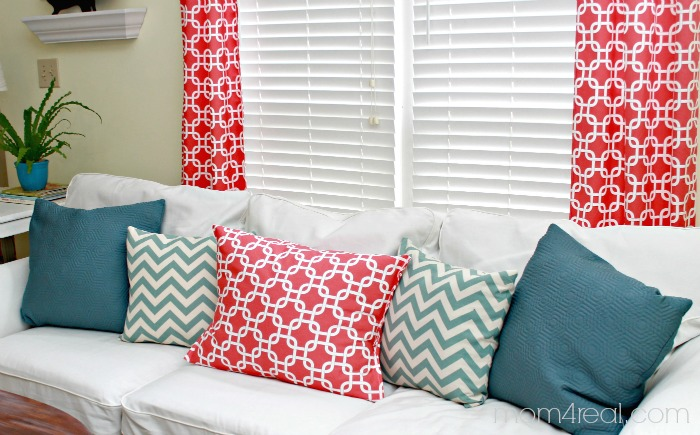 Add some fun coral fabric to your decor and let the sun shine in