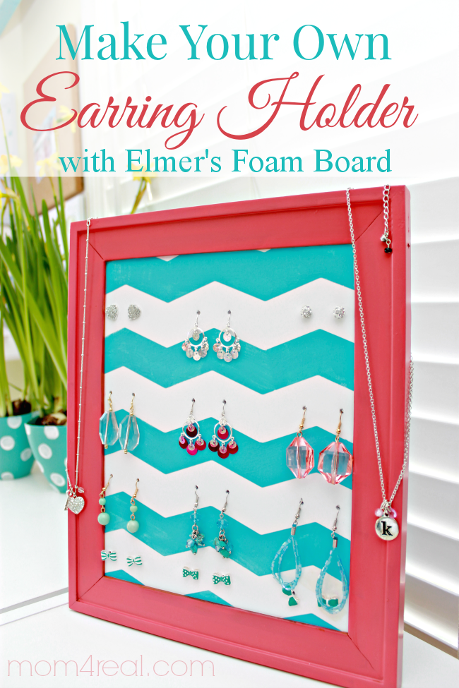 DIY Homemade Earring Holder Stand Using Foam Board and an Old Picture Frame