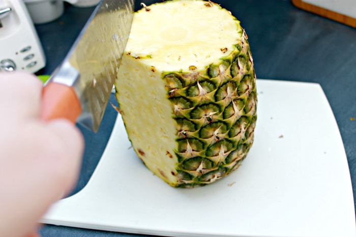 Cut a fresh pineapple