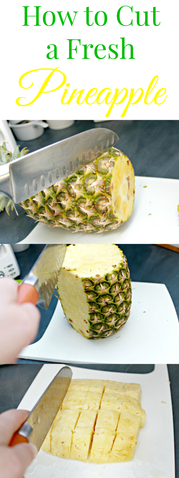 The easiest way to cut a fresh pineapple into chunks! Check out more tips and tricks at mom4real.com