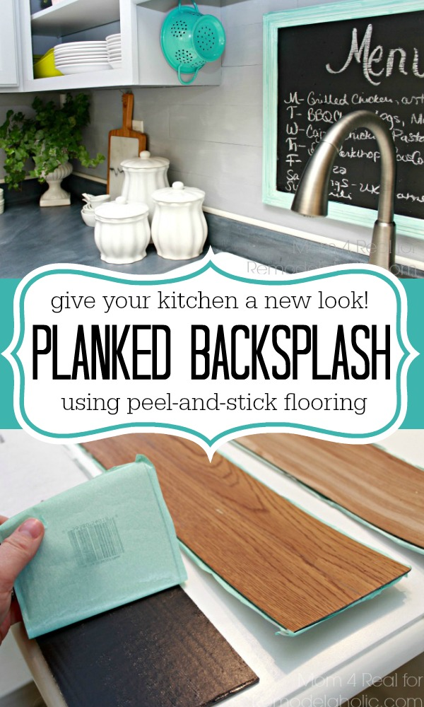 Give your kitchen a whole new look! Use peel and stick flooring to make a planked wall backsplash! Budget friendly.