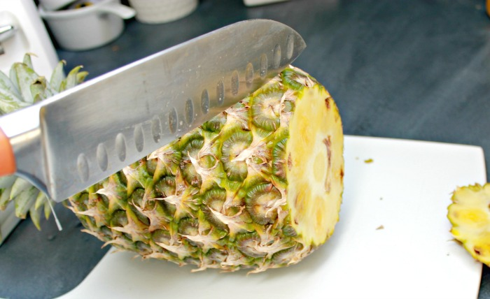 The easiest way to cut a pineapple