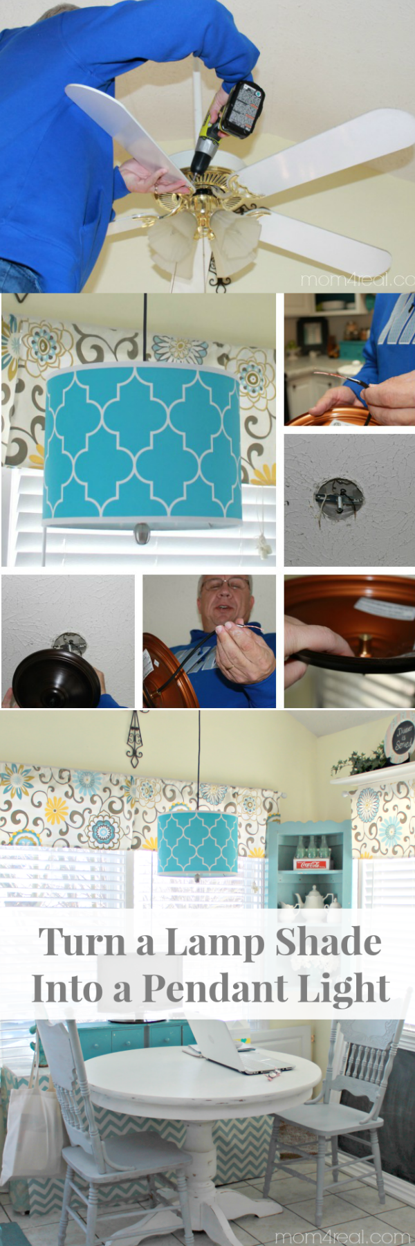 Turn a Lamp Shade Into a Pendant Light - Mom 4 Real
