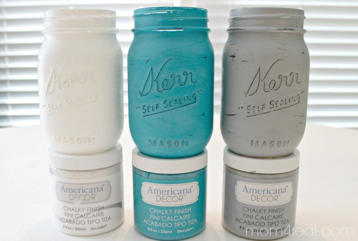 Chalky Painted Mason Jars Using Americana Decor Finish Paint 1