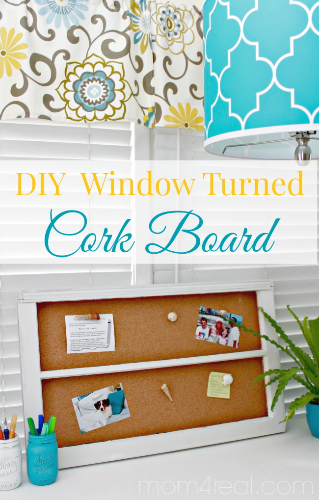 DIY Window Turned Cork Board