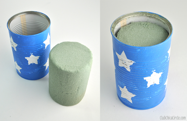 Flower-foam-in-upcycled-can