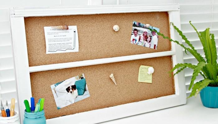 DIY Window Cork Board & Sea Shell Thumbtacks