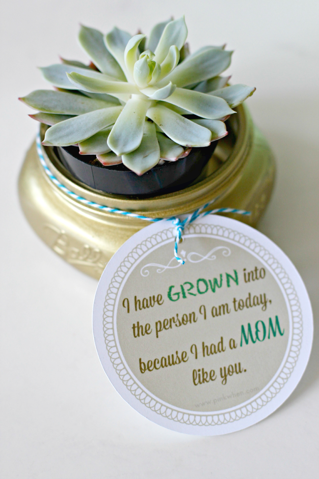 Succulent Mason Jar Craft W Free Printable Mom 4 Real