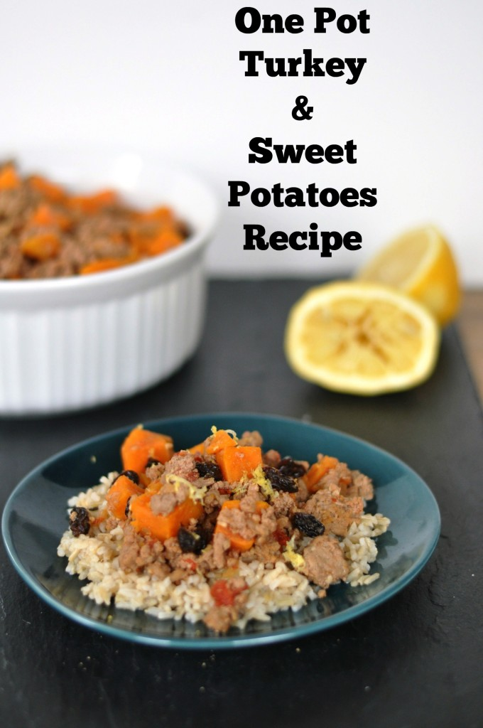 Delicious one pot meal made with turkey and sweet potatoes. So yummy! #recipes