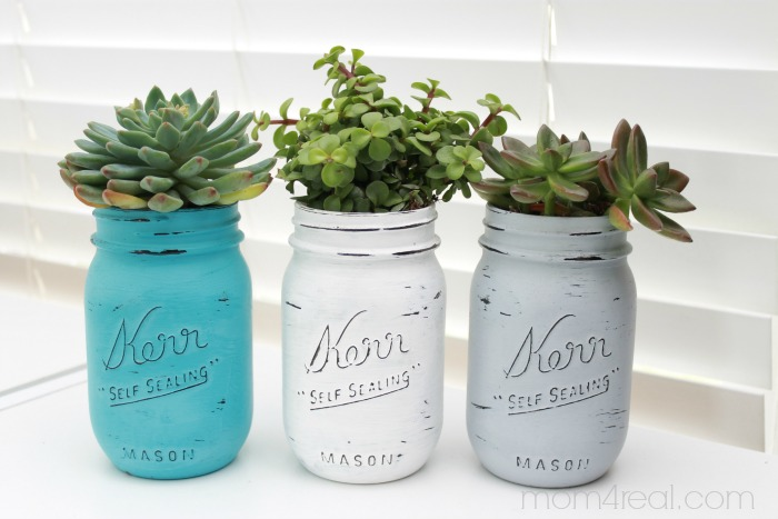 Painted-Mason-Jars-With-Succulents
