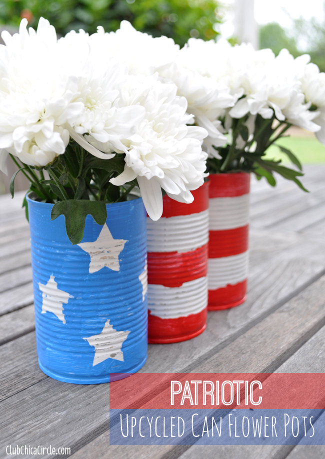 Upcycled tin can flower pots - 4th of July Centerpiece / Decorations