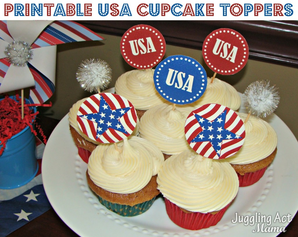 06 - Juggling Act Mama - Patriotic Cupcake Toppers