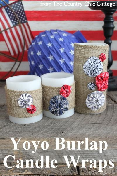 12 - Country chic Cottage - Burlap Candle Wraps