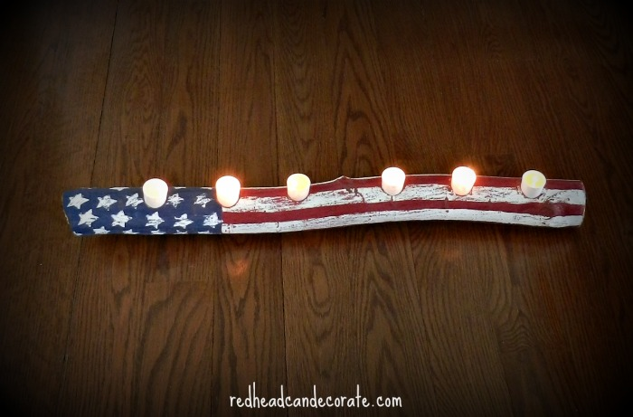 15 - Redhead can Decorate - American Flag Log Candle