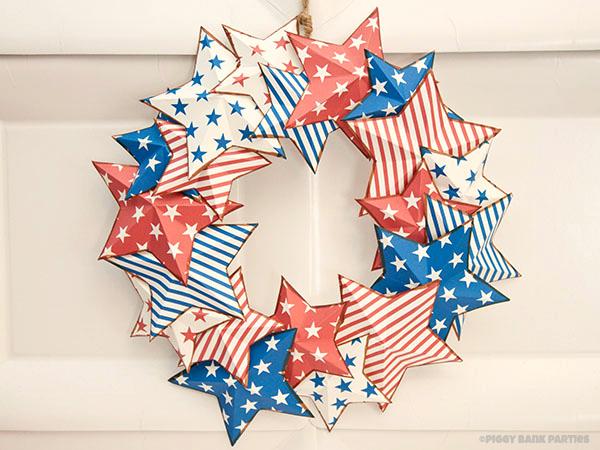 21 - Piggy Bank Parties - Americana Star Wreath