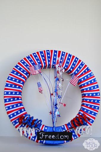 25 - Just Us Four - July 4th Ribbon Wreath