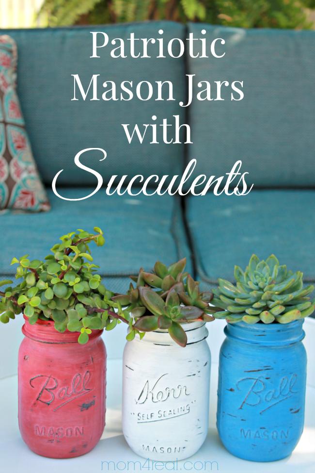 Patriotic Mason Jars with Succulents