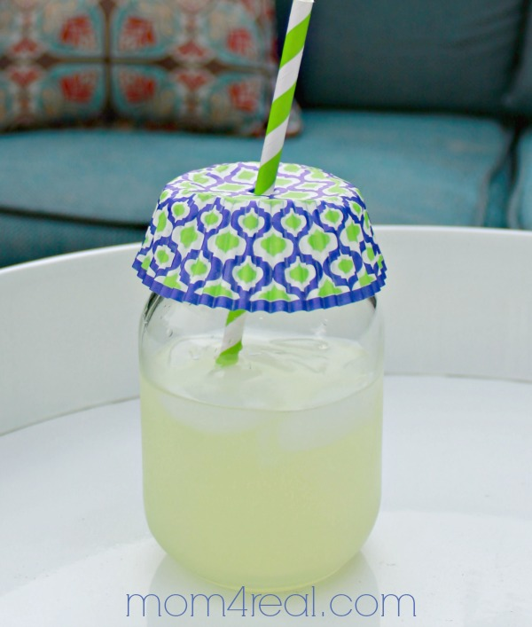lemonade in mason jars with cupcake liner as lid