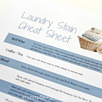 Laundry Stain Remover Cheat Sheet ~ Free Printable