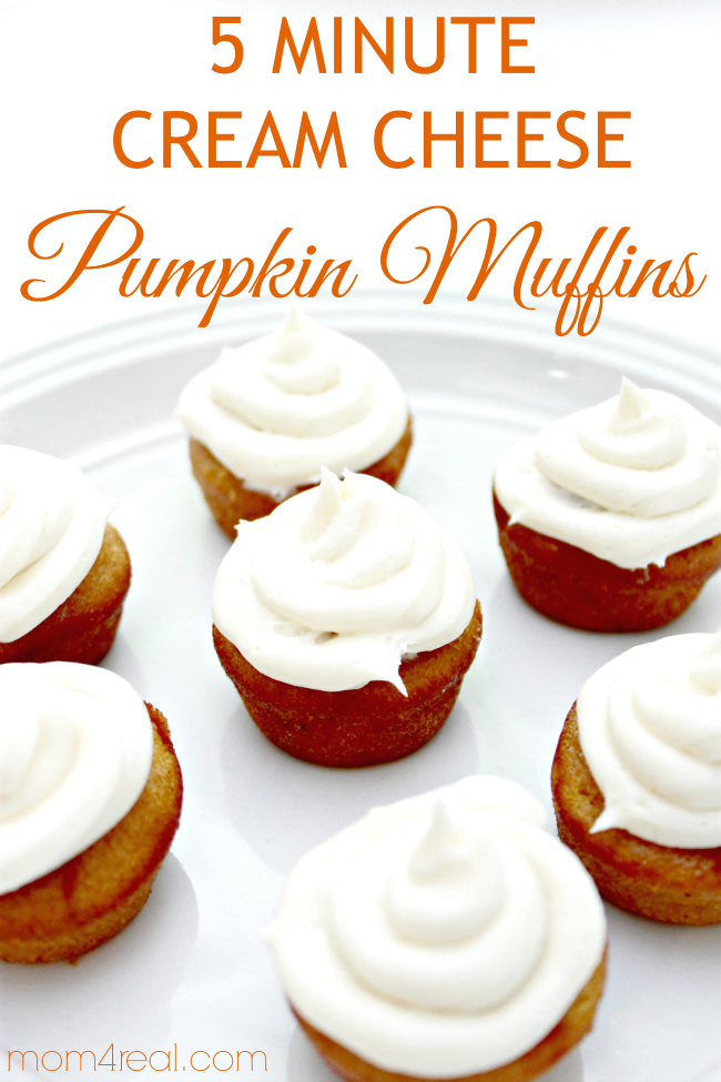 5 Minute Cream Cheese Pumpkin Muffins