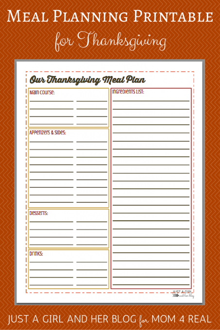 Thanksgiving Menu Meal Planning- Free Printable!