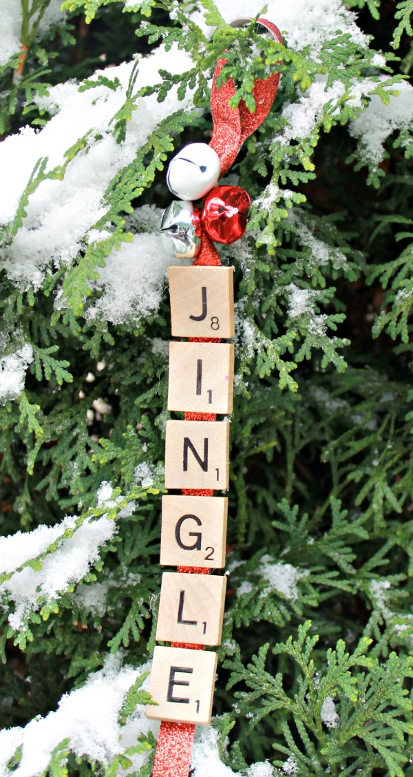 Jingle Christmas Ornament made out of scrabble pieces