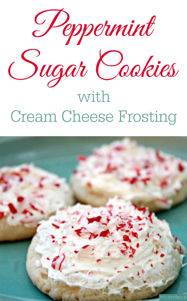 Peppermint Sugar Cookies with Cream Cheese Frosting - Cheater Version