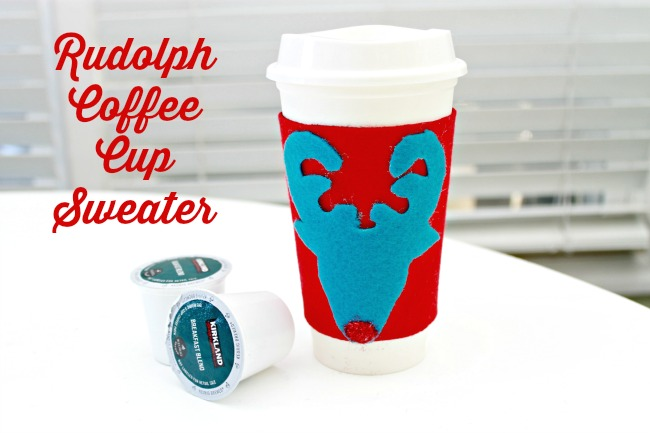Rudolph Coffee Cup Sweater and An Ugly Sweater Party