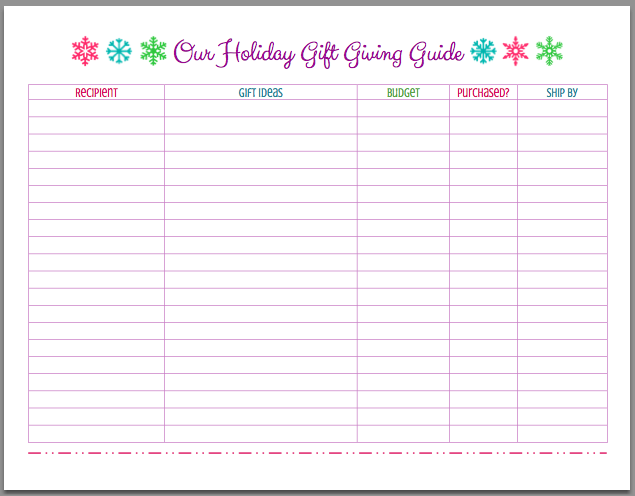 FREE Printable Christmas Holiday Gift Giving Guide