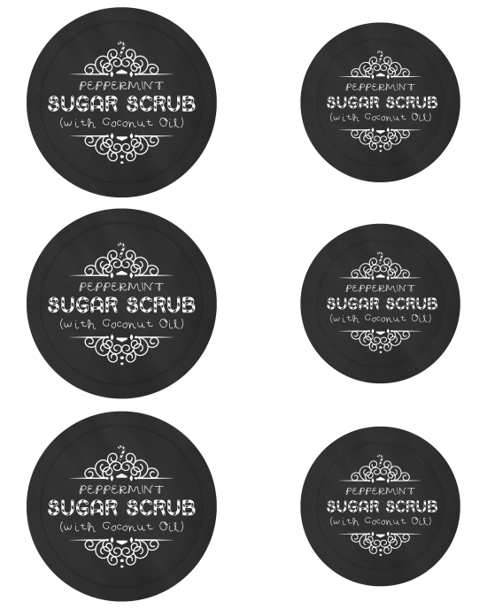 Mason Jar Labels for Peppermint Sugar Scrub