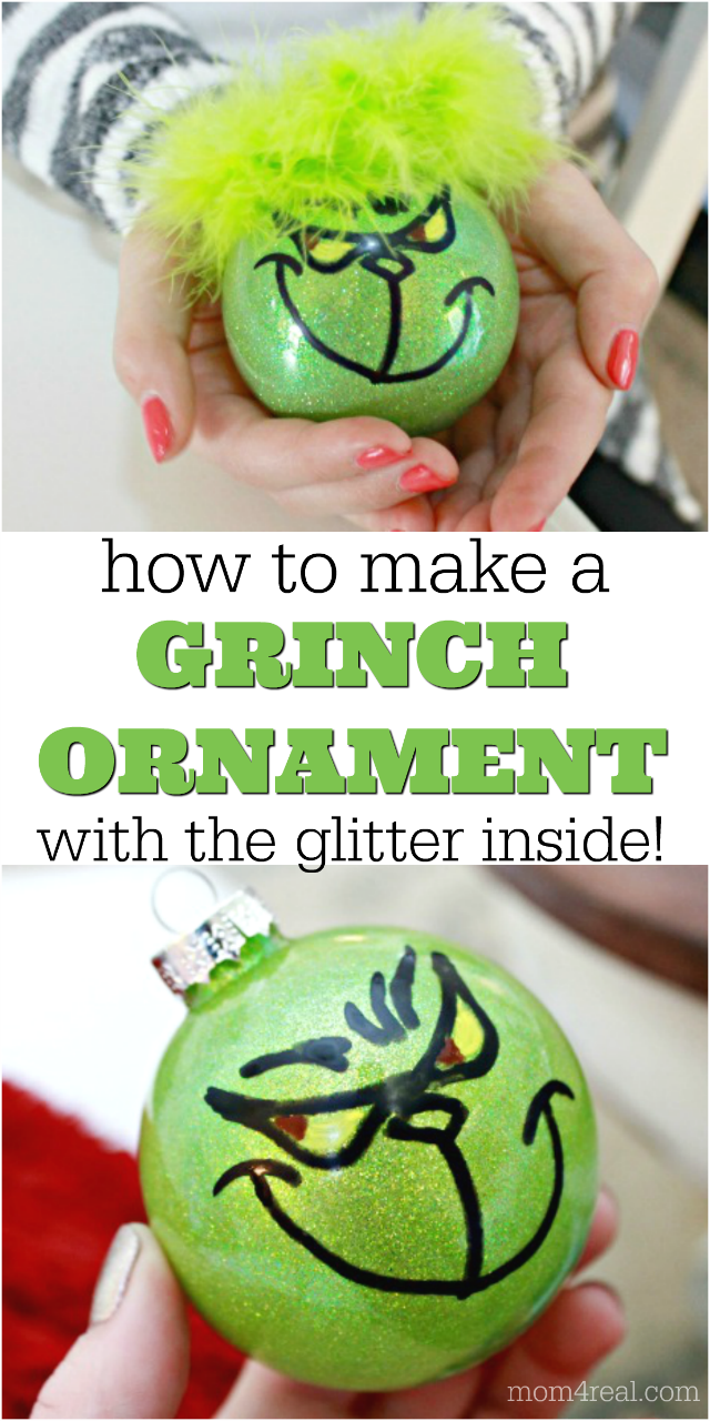 homemade Grinch Christmas ornaments