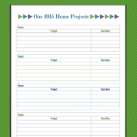 Home Projects Printable for 2015