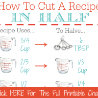 Free Printable Kitchen Conversion Chart - How To Cut A Recipe In Half