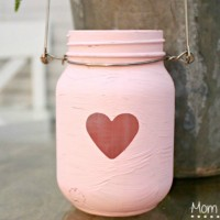 Valentine's Day Painted Mason Jar Lanterns