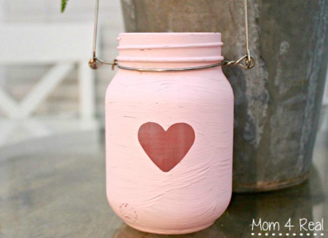 Valentine's Day Painted Mason Jar Lanterns