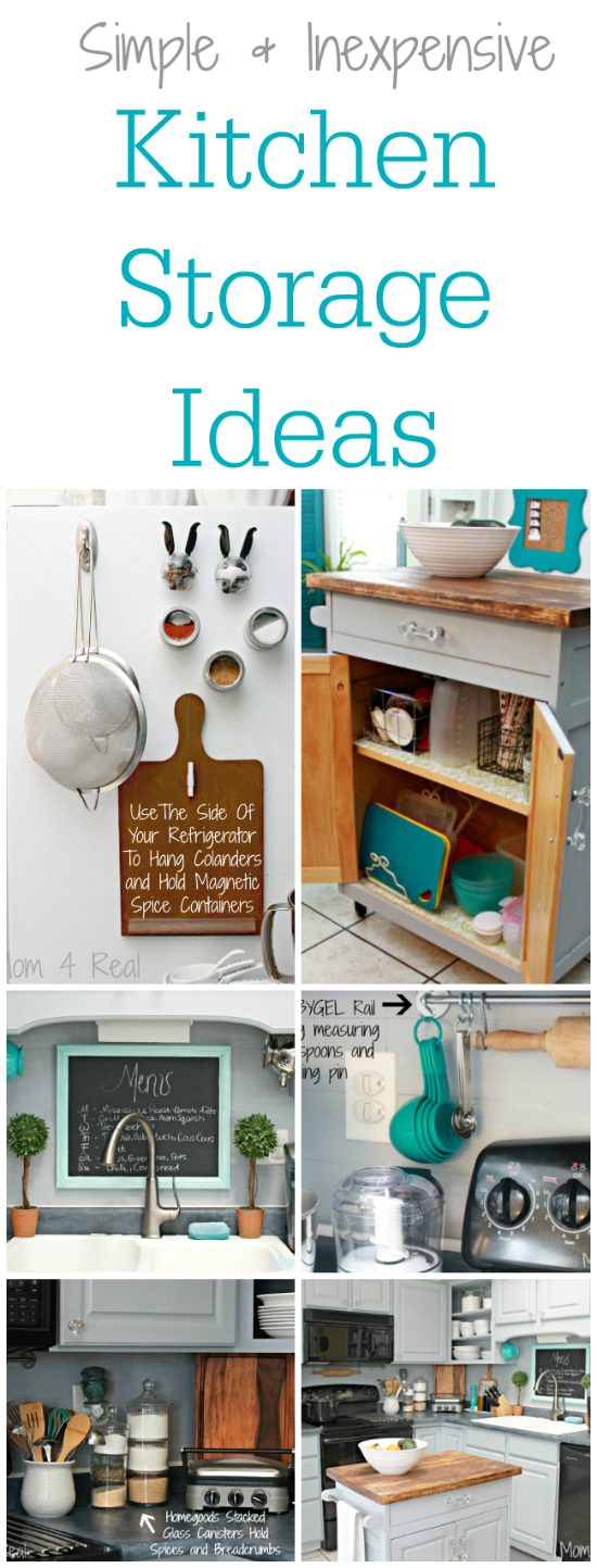 Simple and inexpensive kitchen storage ideas mom 4 real for Cheap kitchen storage ideas