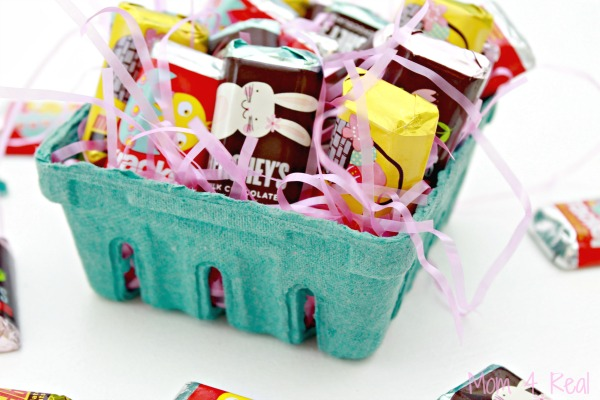 7 easter candy gift ideas with hersheys mom 4 real i placed them in a small cardboard berry basket with a little pink easter grass small gifts can go negle Images