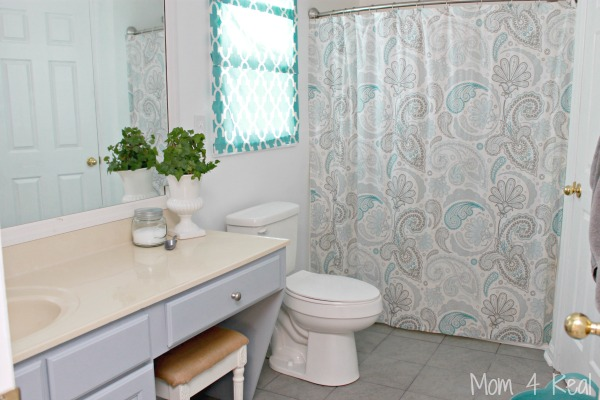 Bathroom Makeover Reveal - Grey, Aqua and White