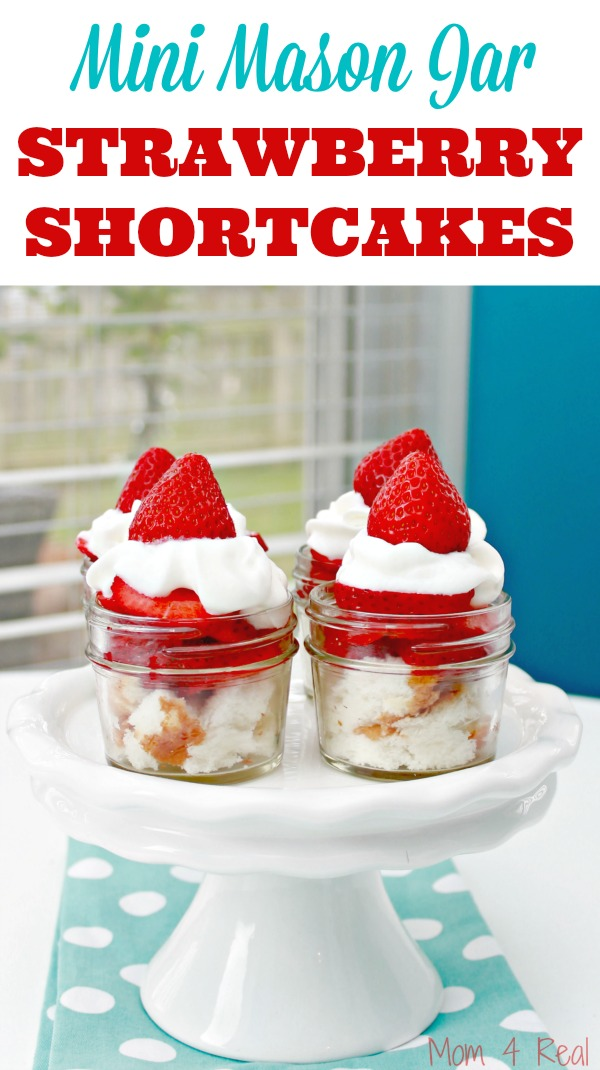 Mini Mason Jar Strawberry Shortcake Desserts