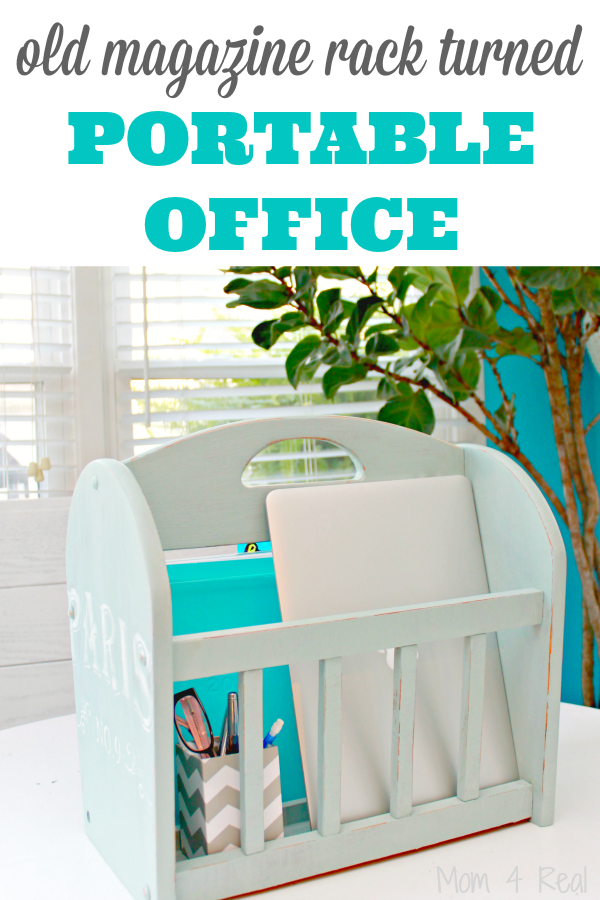 http://www.mom4real.com/wp-content/uploads/2015/07/Old-Magazine-Rack-Turned-Portable-Office.png